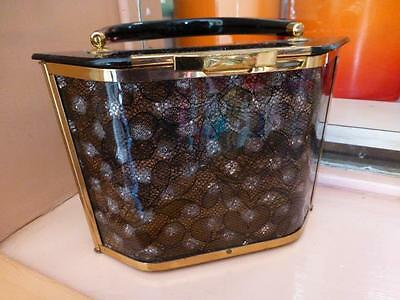 Signed Majestic Lucite and Lace Purse or Handbag, 1950s, Excellent Condition