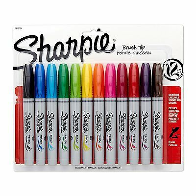 Sharpie Permanent Markers, Brush Tip, Assorted Colors, 12 Pack, New