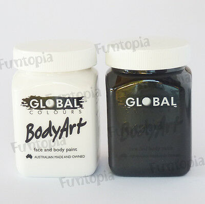 Global Black & White 200ml Liquid Face Paint -Costume Cosplay Party Halloween