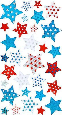 Ek Success Sticko Metallic Stickers - 3 Different Sizes - Red White & Blue Stars