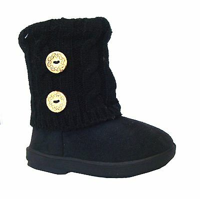 WHOLESALE LOT 18 Pr New Girls Casual Faux Fur 2 Buttons Knitting Boot-285A black
