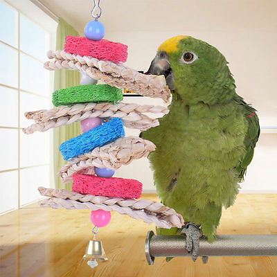 Colorful Towel Gourd Stem Parrot Climb Bird Bites Toy Macaw African Greys Budgie