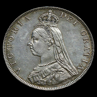 1887 Queen Victoria Jubilee Head Double Florin, Roman 1 in Date, A/UNC