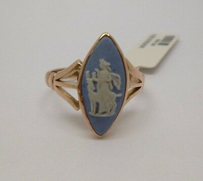 rare 9ct rose gold antique vintage Wedgwood cameo dress ring/Chester hallmark