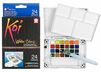 Sakura Koi Watercolour Paint 24 Colors with Brush Sketch Set XNCW-24N Drawing