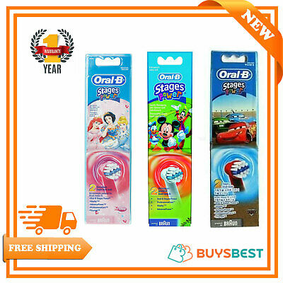 Oral-B Braun Kids Stages Power Disney Cars Princess Toothbrush Heads - 2 Pack
