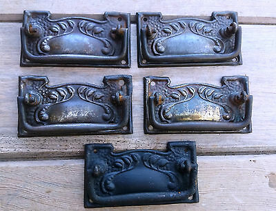 Set of Five Reclaimed Art Nouveau Door/Drawer/Cupboard - Vintage Pull Handles