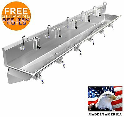 "Multi Station 6 User Knee Valve Hand Sink 144"" (2)2"" Npt Drains (4)Wall Brackets"