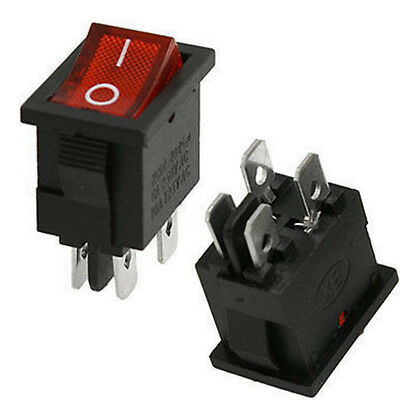 4 Pin DPST Illuminated Rocker Switch ON/OFF 250V, 10A