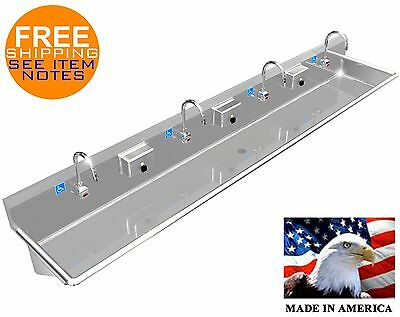 """Ada 4 Station 108"""" Hand Washing Sink Electronic Faucet Stainless Steel Multiuser"""