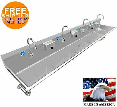 """Ada 4 User 100"""" Hand Wash Up Sink Electronic Faucet Stainless Steel, Pomona Ca"""