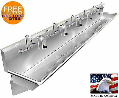"Multi Station 6 Users Hand Sink 144"" Manual Faucet (2) 2"" Npt Drains Made In Usa"