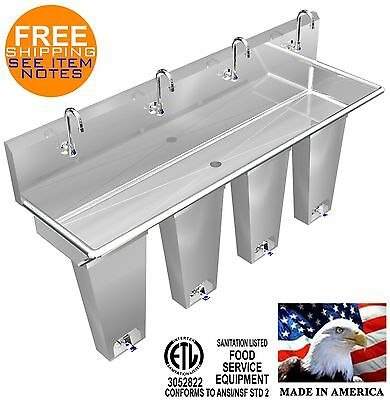 "Hands Free Sink 4 Station 80"" Single Pedal Valve Action With Columns Made In Usa"
