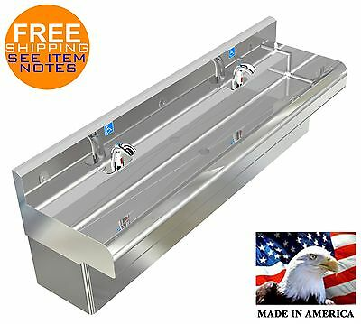 "Ada 2 Station Hand Sink Electronic Faucet No Lead 72"" With Skirt Stainless Steel"
