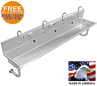"Hand Sink 4 Users  Multistation 96"" Wash Up Hands Free With Electronic Faucet"