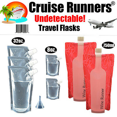 Cruise Flask Kit Runners Rum Sneak Smuggle Alcohol Liquor Booze Wine Travel