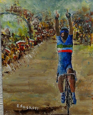 Vincenzo Nibali Cycling oil painting on 407g cotton canvas unframed 10X8 Inch