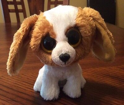 """Ty Beanie Boo Cookie The Dog 6"""" RETIRED Solid Gold Eyes, Mint Purple Hang Tag"""