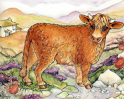 Vintage HEALEY Art Print  SCOTTISH Breed HIGHLAND Long Haired Shaggy Cow Cattle
