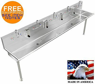 "Stainless Steel Hand Sink 108"" 5 Person Manual Faucets (2) 2"" Npt Drains"