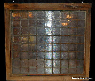 Antique Luxfer Tile Glass Transom Oak Window Prism Glass Architectural Salvage
