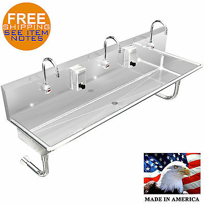 "3 Users Multistation 72"" Hand Sink Wash Up Hands Free Electronic Faucet S. Steel"