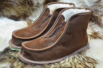 hand-made womens mens natural leather slippers boots all size 3-12