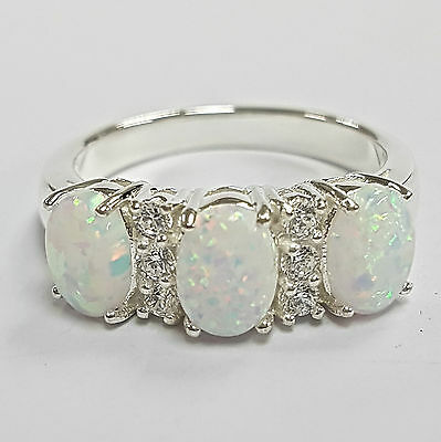 Victorian Style White Fire Gilson Opal Trilogy Ring 925 Sterling silver 8