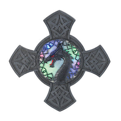 Gothic Dragon Celtic Cross Multi Color Light up Wall Decor picture NEW Halloween