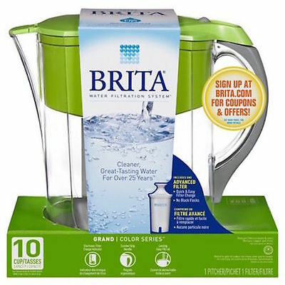 Brita 10 Cup Everyday BPA Free Water Pitcher GREEN Filter Included NIB