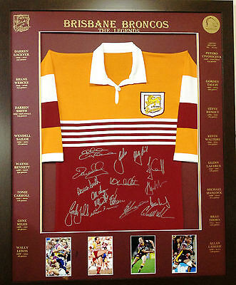 Blazed in Glory - Brisbane Broncos Legends - NRL Signed & Framed Jersey