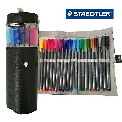 Staedtler Triplus Fineliner 334 PC20 Colour Ink Pen 0.3mm Pencil Case Black