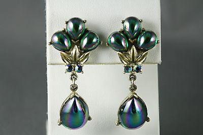 Vtg Coro Clip Earrings Teardrop Dangle Iridescent Green Glass Signed