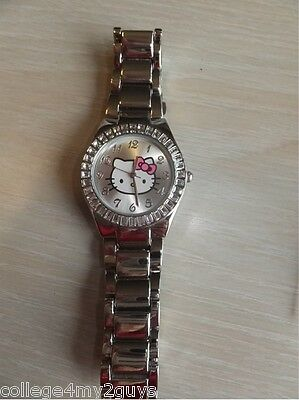Hello Kitty Stainless Steel Watch Sanrio Rhinestones