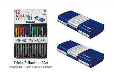 Staedtler Triplus Fineliner 334 MB12 Colour Pen 0.3mm Student Magic Pencil Case
