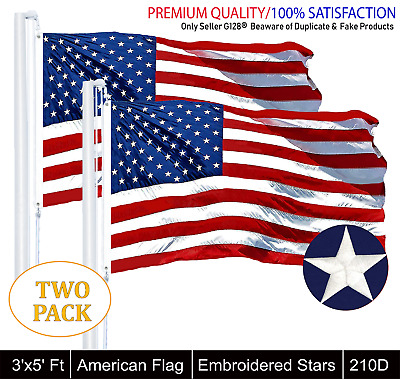 2-PACK: 3'x5' ft, American Flag US USA | Embroidered Stars, Sewn Stripes