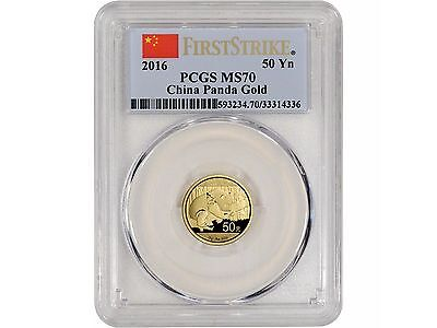 2016 3 Gram China 50¥ Gold Panda - PCGS FIRST STRIKE MS70 - POP 120