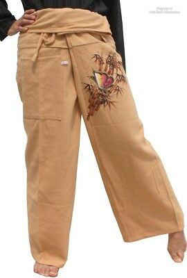 Thick Soft Weave Cotton Fisherman Pants - Painted Butterfly Brown sz M