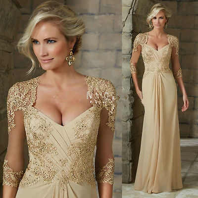 New Champagne Mother Of The Bride Dresses Lace Scoop Neck Formal Evening Gowns