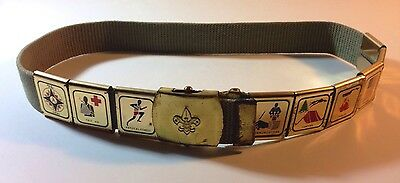 """Boy SCOUTS OF AMERICA Vintage 9 Awards 32"""" long Belt with a solid brass Buckle"""