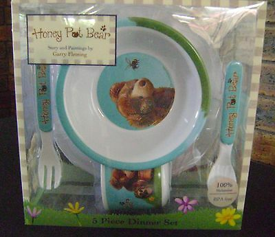 HONEY POT BEAR Kids Dinner Set 5 piece Plate Bowl Cup Fork Spoon BABY Feeding