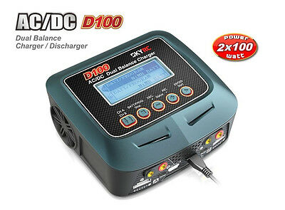 SkyRC D100 Dual 2x100W AC DC LIPO NIMH Smart Charger #SK-100089 RC Models IN AU