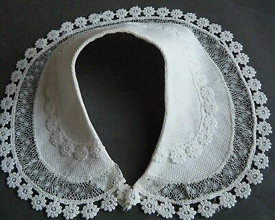 19c Antique Edwardian cotton Small Collar handmade beautiful combo lace FRANCE