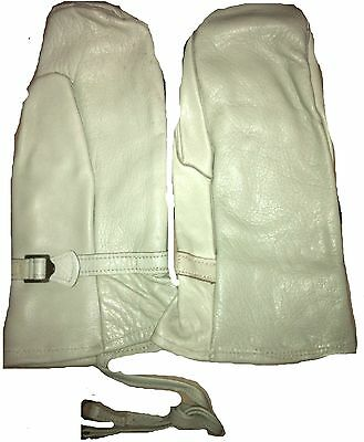 Original Swedish Army white leather ski gloves hunting skiing vintage gloves