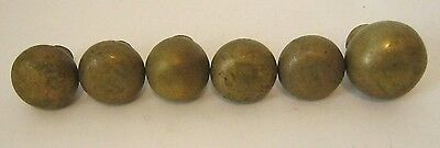 Vintage Architectural Salvage Lot of 6 Antique Solid Brass or Bronze Door Knobs