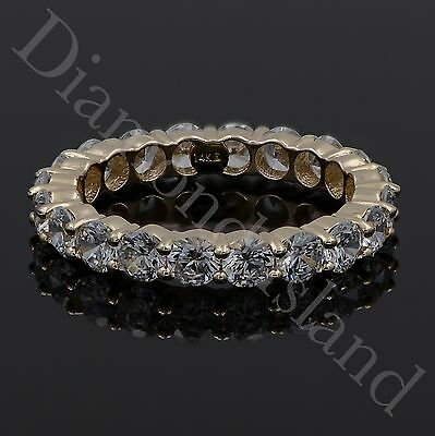3.0 CT Brilliant Round Eternity Wedding Band Ring 14K Yellow Solid Gold Size 6