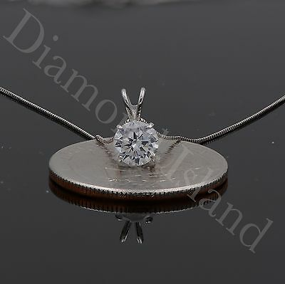 2.5 CT Round Brilliant Cut Solitaire Pendant 14k Solid White Gold Necklace 16''