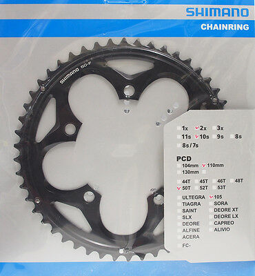 Shimano 105 FC-5750 Chainring 50T, 110mm BCD, Double, Black