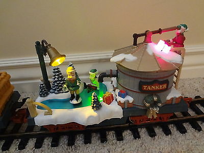 New Bright Holiday Express TANKER CAR ice skating elf Animated G scale TESTED