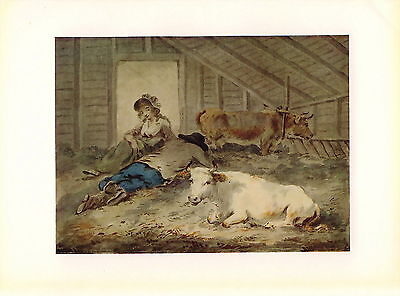 Old Antique Vintage Art Print Cow Farmer & Lady COURTSHIP COWSHED Love Romance